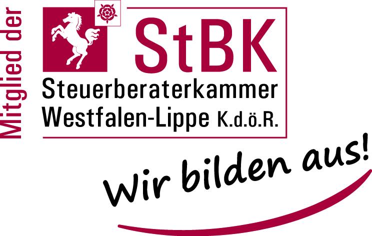 Logo: Mitglied der Steuberaterkammer Westfalen-Lippe. Wir bilden aus!